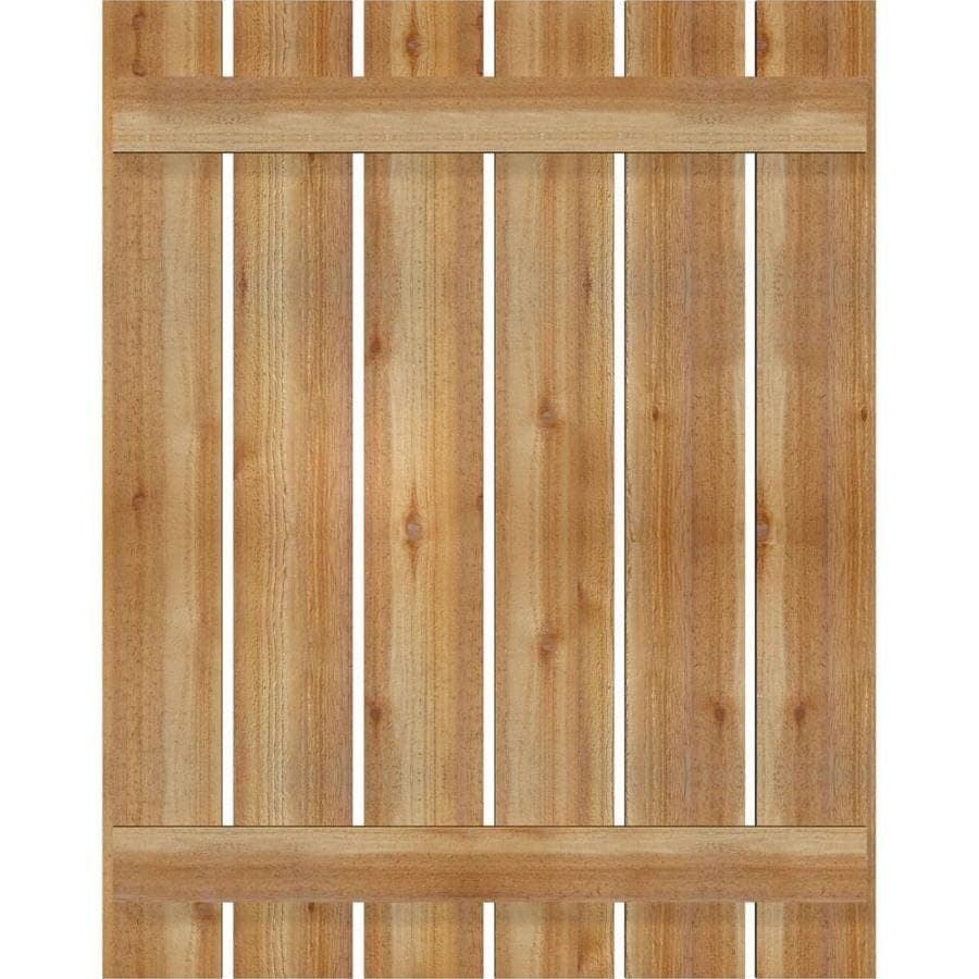 Unfinished Per Pair Ekena Millwork RWL12X067UNW Exterior Real Wood Western Red Cedar Open Louvered Shutters 12W x 67H