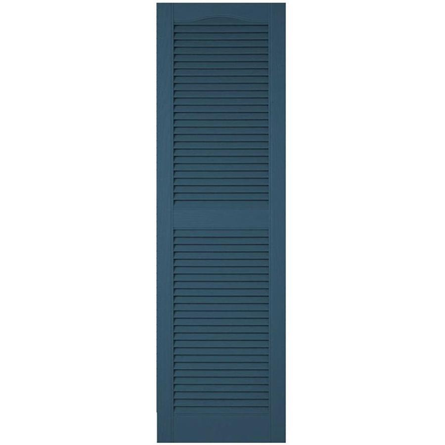 Ekena Millwork Lifetime Custom Cathedral Top Center Mullion 2 Pack 18 In W X 86 In H Classic Blue Louvered Vinyl Exterior Shutters In The Exterior Shutters Department At Lowes Com
