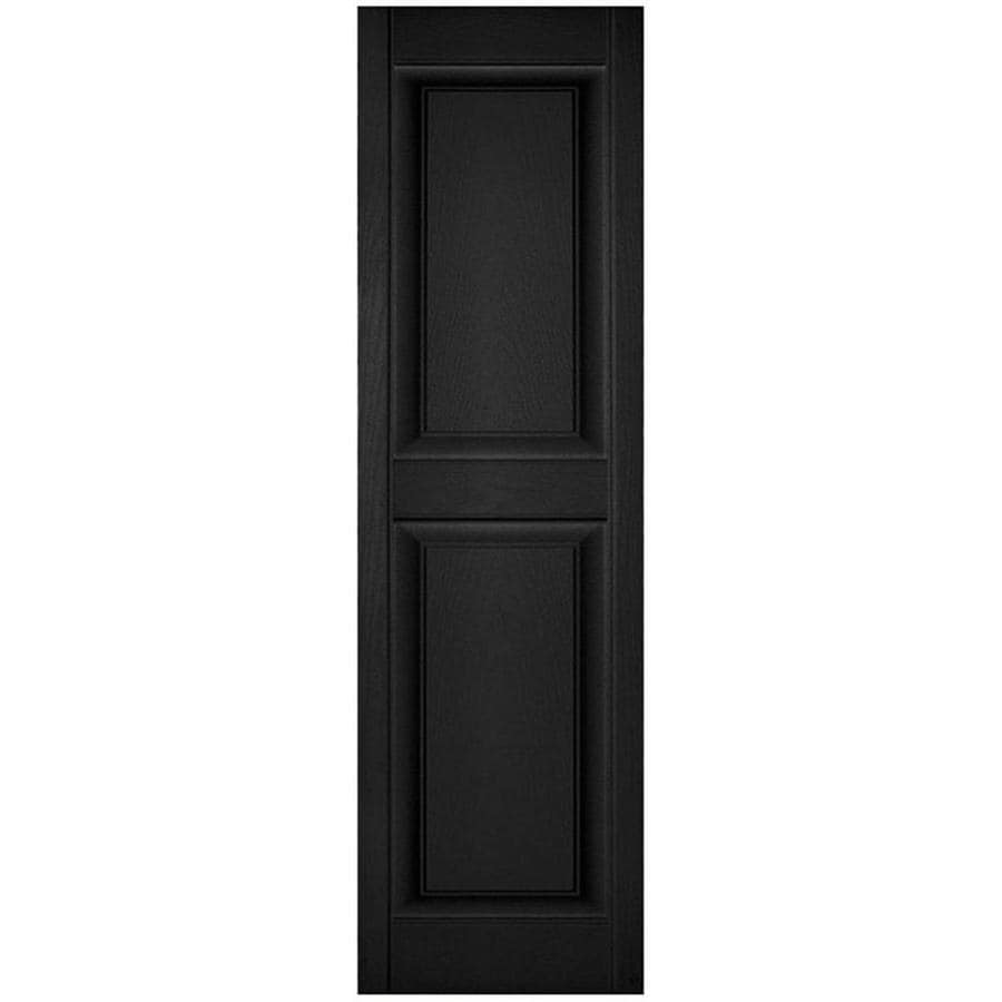 Ekena Millwork Lifetime Custom Two Equal Panels 2 Pack 14 5 In W X 64 In H Black Raised Panel Vinyl Exterior Shutters In The Exterior Shutters Department At Lowes Com