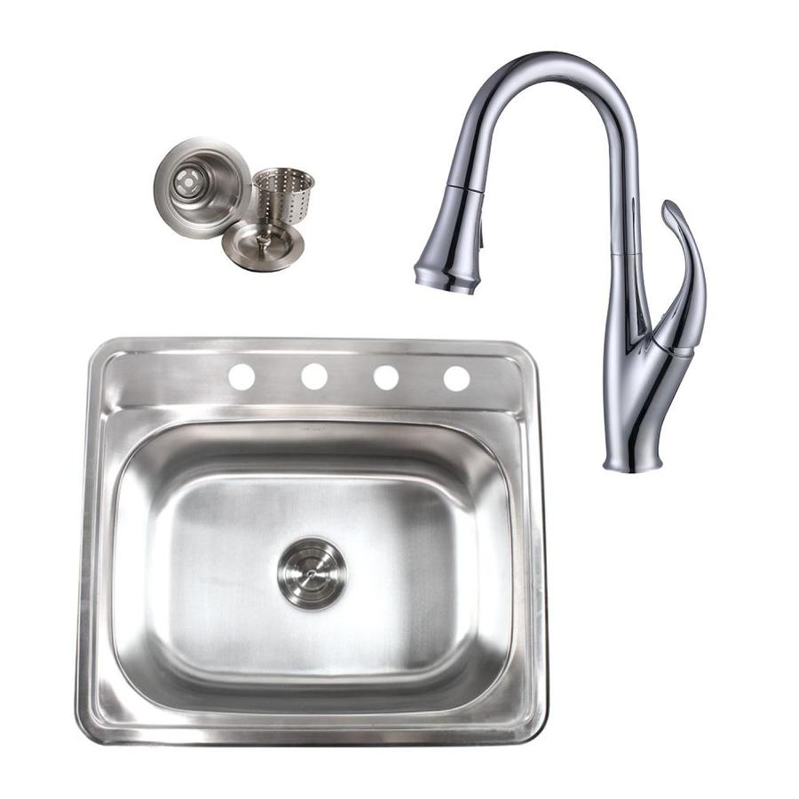 Emoderndecor Ariel Drop In 25 In X 22 In Stainless Steel Single Bowl 4 Hole Kitchen Sink In The Kitchen Sinks Department At Lowes Com