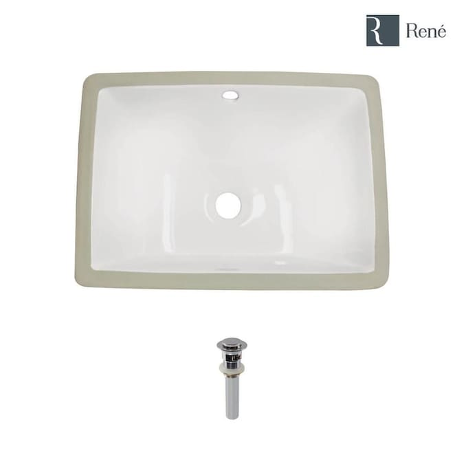 Rene Biscuit Porcelain Undermount Rectangular Bathroom Sink With Overflow Drain Drain Included 18 25 In X 13 In In The Bathroom Sinks Department At Lowes Com