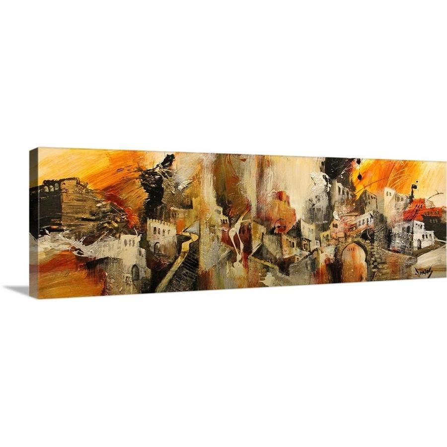 Greatbigcanvas Greatbigcanvas Frameless 12 In H X 36 In W Abstract Canvas Painting In The Wall Art Department At Lowes Com