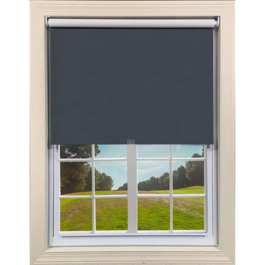 Mairo Made To Measure 29 5 In X 76 In Noir Blackout Cordless Roller Shade In The Window Shades Department At Lowes Com
