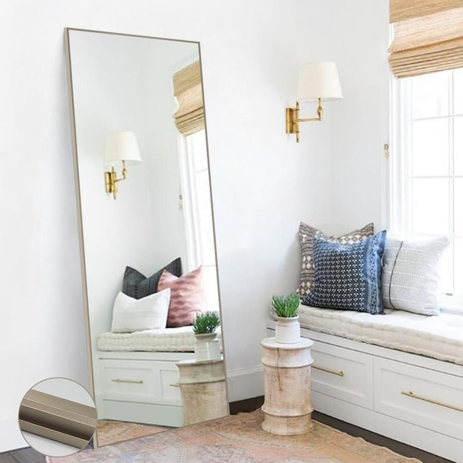 Neutype 64 17 In L X 21 26 In W Matte Champagne Framed Floor Mirror In The Mirrors Department At Lowes Com