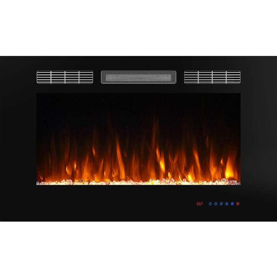 Glitzhome 36 In W Black Fan Forced Electric Fireplace In The Electric Fireplaces Department At Lowes Com