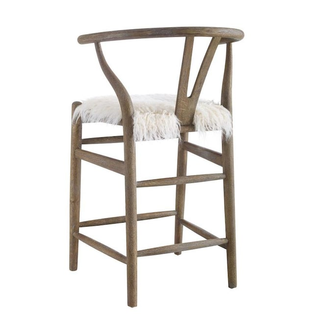 Linon Ellis Wishbone Counter Gray Brown Wash Counter Upholstered Bar Stool In The Bar Stools Department At Lowes Com