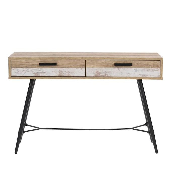Corliving Aurora Distressed Warm Beige Modern Console Table In The Tables Department At Com - Sofa Table Writing Desk