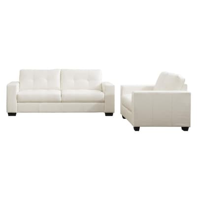 Modern White Faux Leather Sofa At Lowes Com