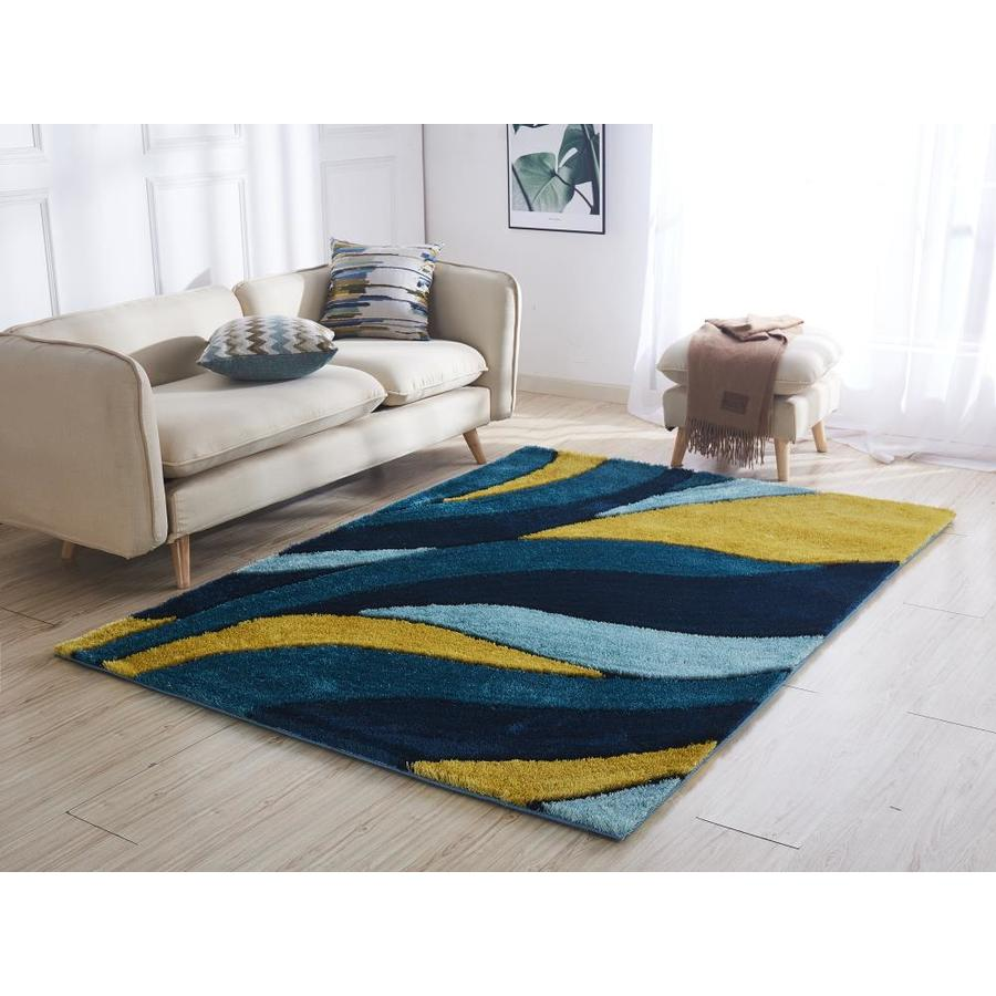 Amazing Rugs Aria 2 X 3 Yellow Navy Blue Indoor Handcrafted Area Rug In The Rugs Department At Lowes Com