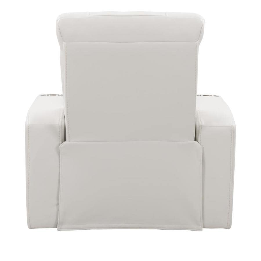 CorLiving Home Theater Single Power Recliner with Stainless Steel Cup Holders, White Leather Gel