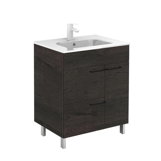 Ws Bath Collections Elegance Vanities 32 In Wenge Single Sink Bathroom Vanity With Ceramic White Ceramic Top In The Bathroom Vanities With Tops Department At Lowes Com
