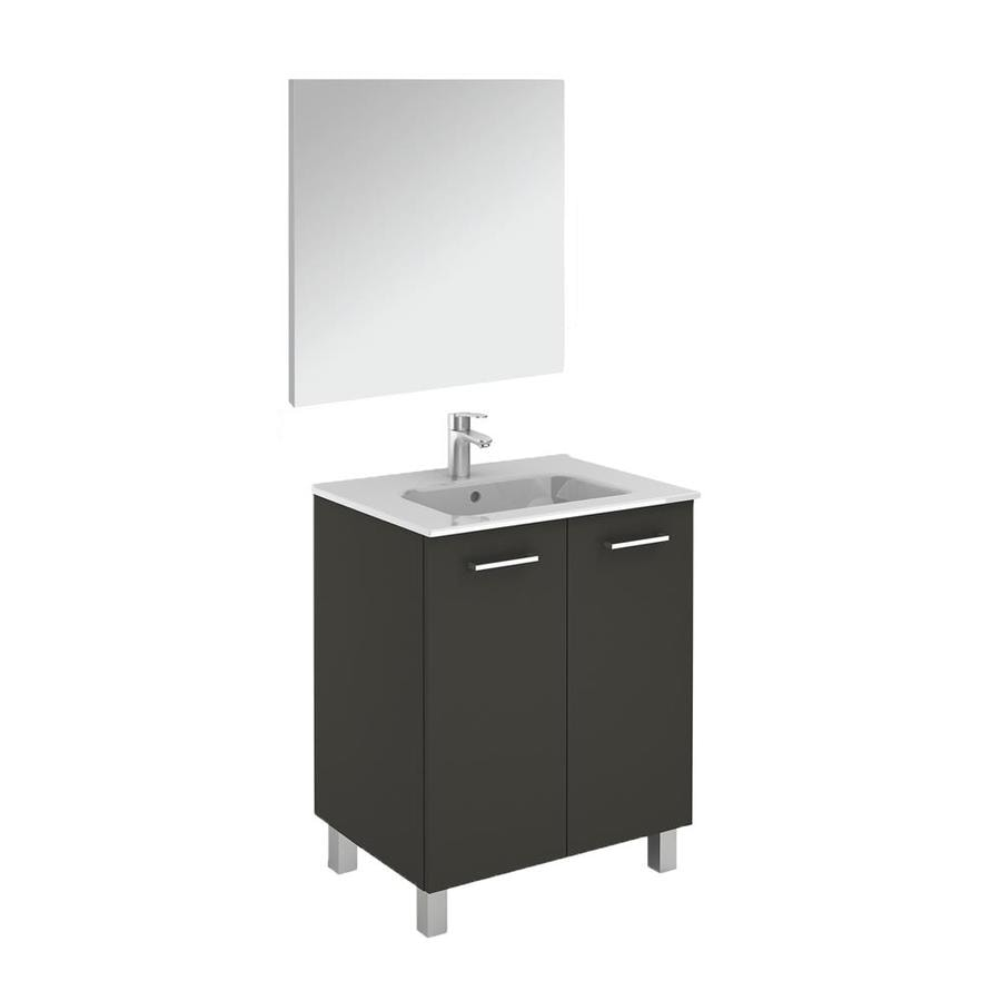 Ws Bath Collections Logic Vanities 28 In Anthracite Single Sink Bathroom Vanity With Ceramic White Ceramic Top Mirror Included In The Bathroom Vanities With Tops Department At Lowes Com