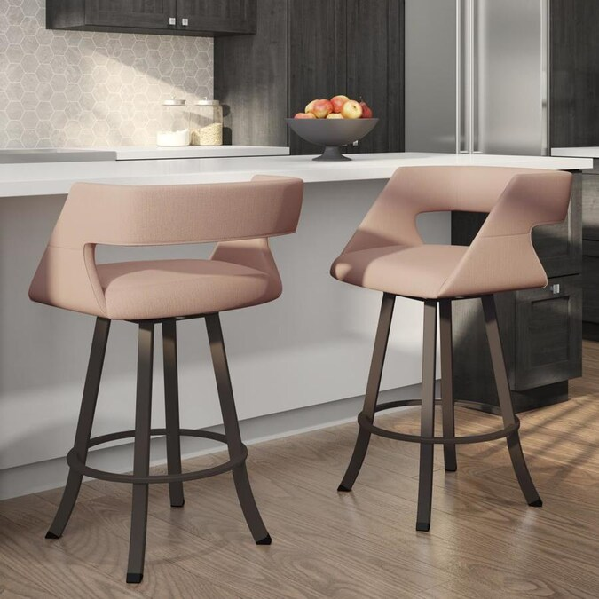 amisco metro soft pink counter height upholstered swivel