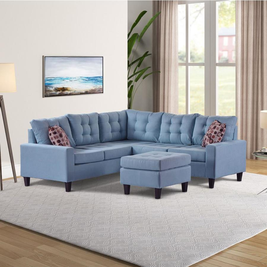 Clihome Symmetrical Sectional Sofa With Ottoman In Sky Blue In The Living Room Sets Department At Lowes Com