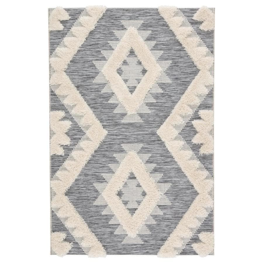 Zayne 5 X 8 Gray Cream Indoor Outdoor Geometric Southwestern Area Rug In The Rugs Department At Lowes Com