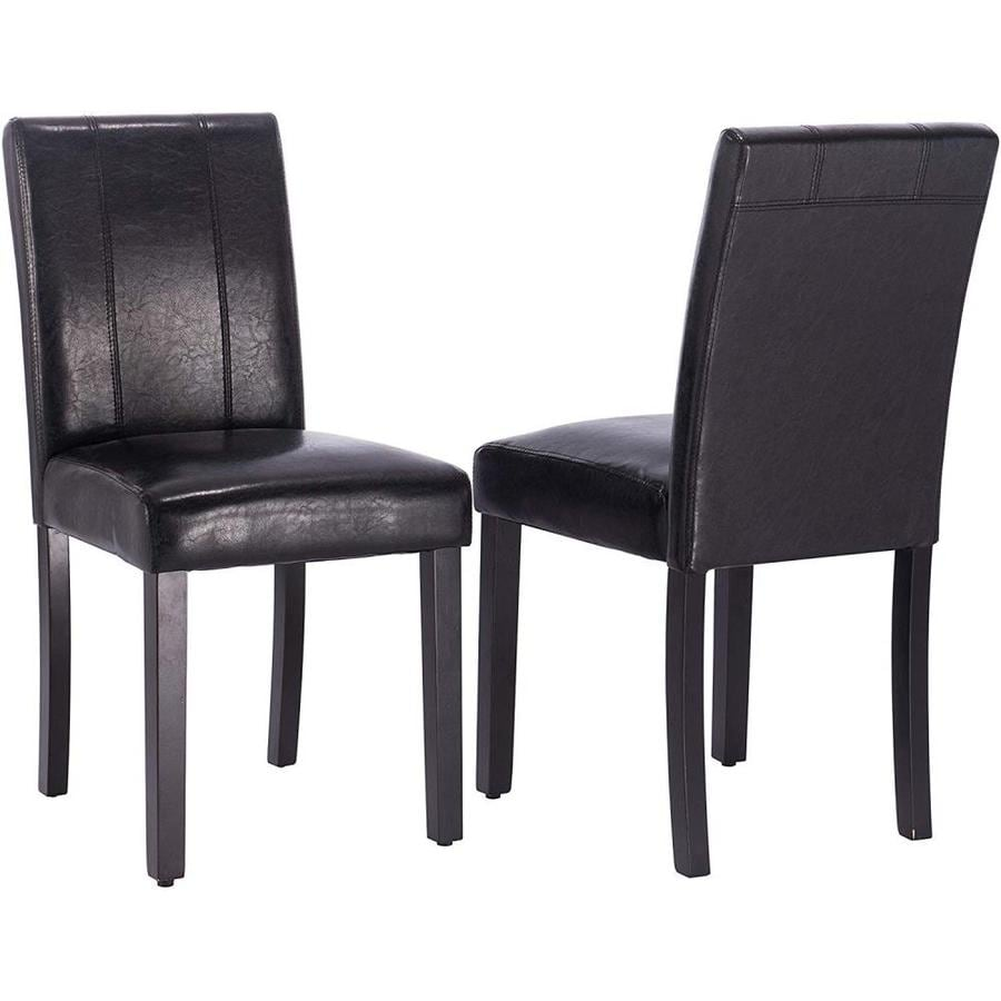 Clihome Set Of 2 Zb Dining Chair Contemporary Modern Faux Leather Upholstered Dining Side Chair Wood Frame In The Dining Chairs Department At Lowes Com