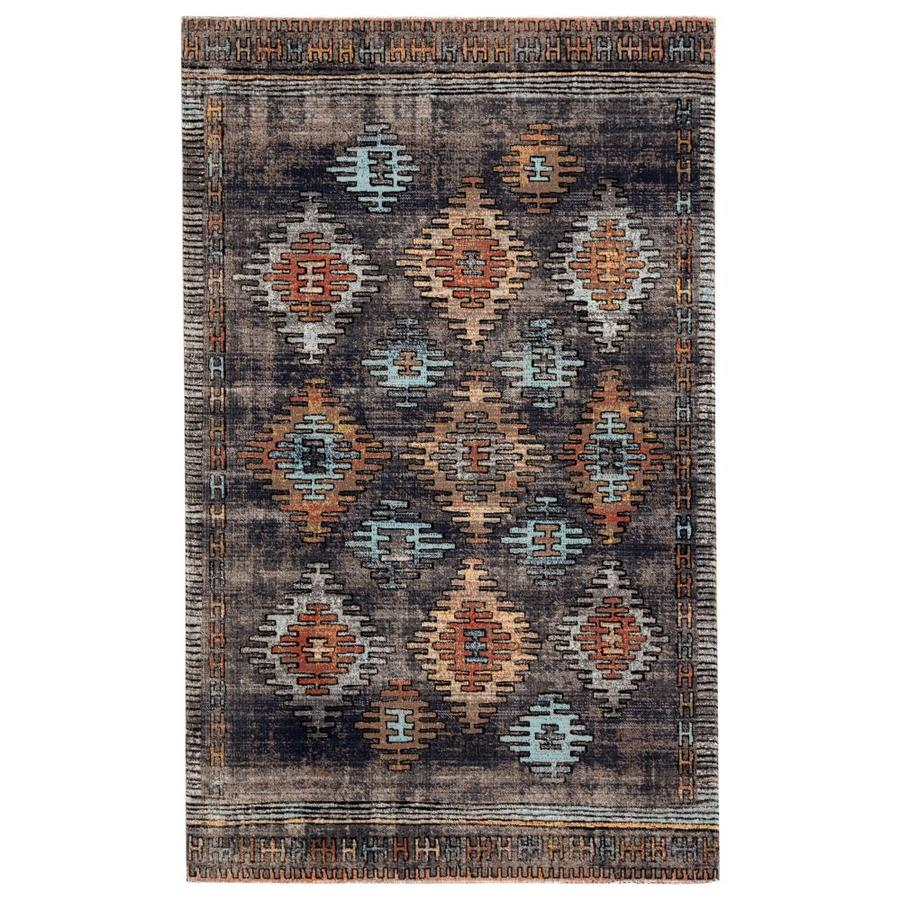 Laila 5 X 8 Blue Orange Indoor Outdoor Geometric Southwestern Area Rug In The Rugs Department At Lowes Com