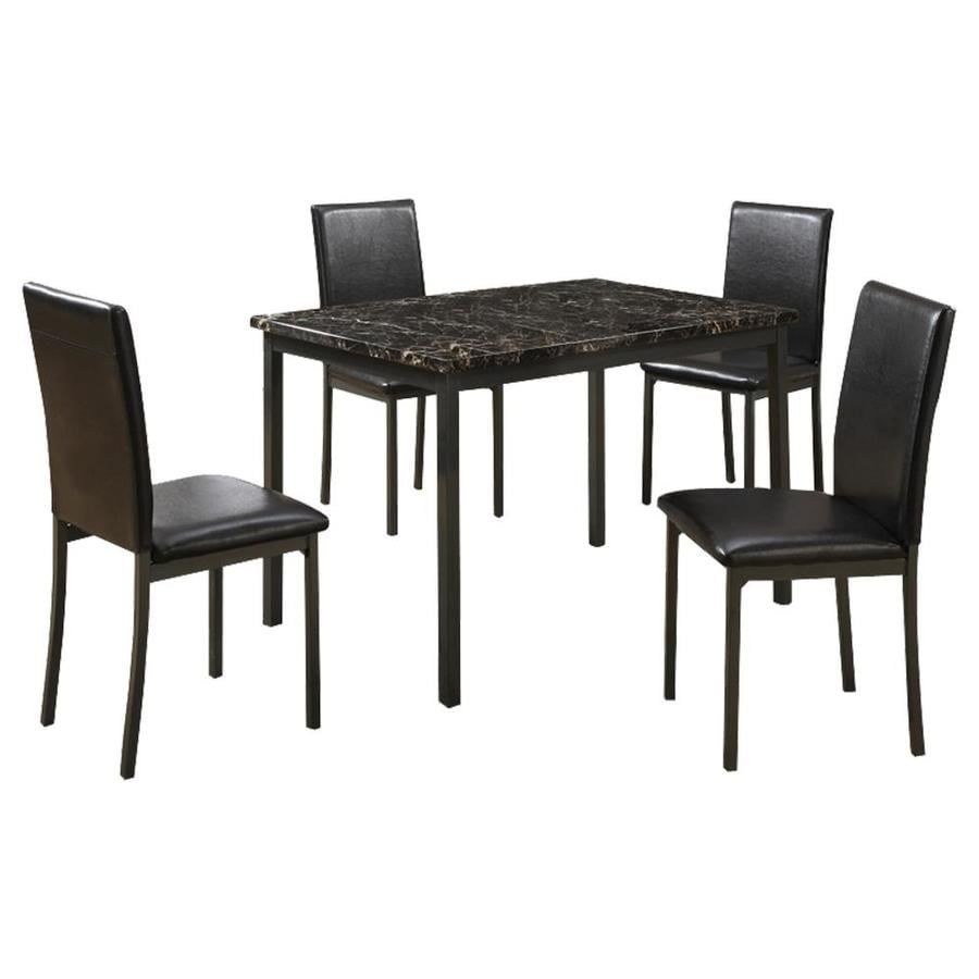 Benzara Black Dining Room Set With Rectangular Table In The Dining Room Sets Department At Lowes Com