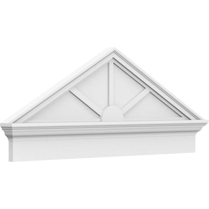 Ekena Millwork Peaked Cap 3 Spoke 46 In X 18 3 8 In Unfinished Pvc Pediment Entry Door Casing Accent In The Crosshead Window Header Department At Lowes Com