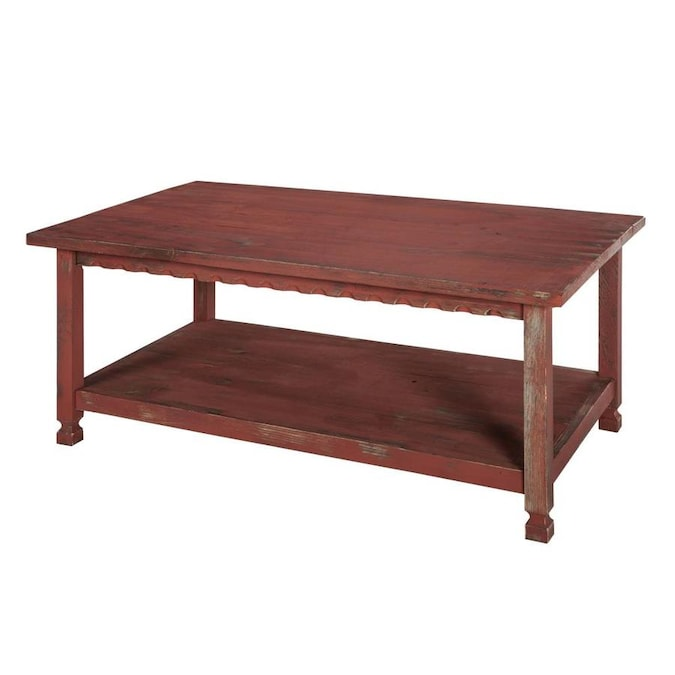 Alaterre Furniture Country Cottage Red Antique Wood Coffee Table In The Coffee Tables Department At Lowes Com