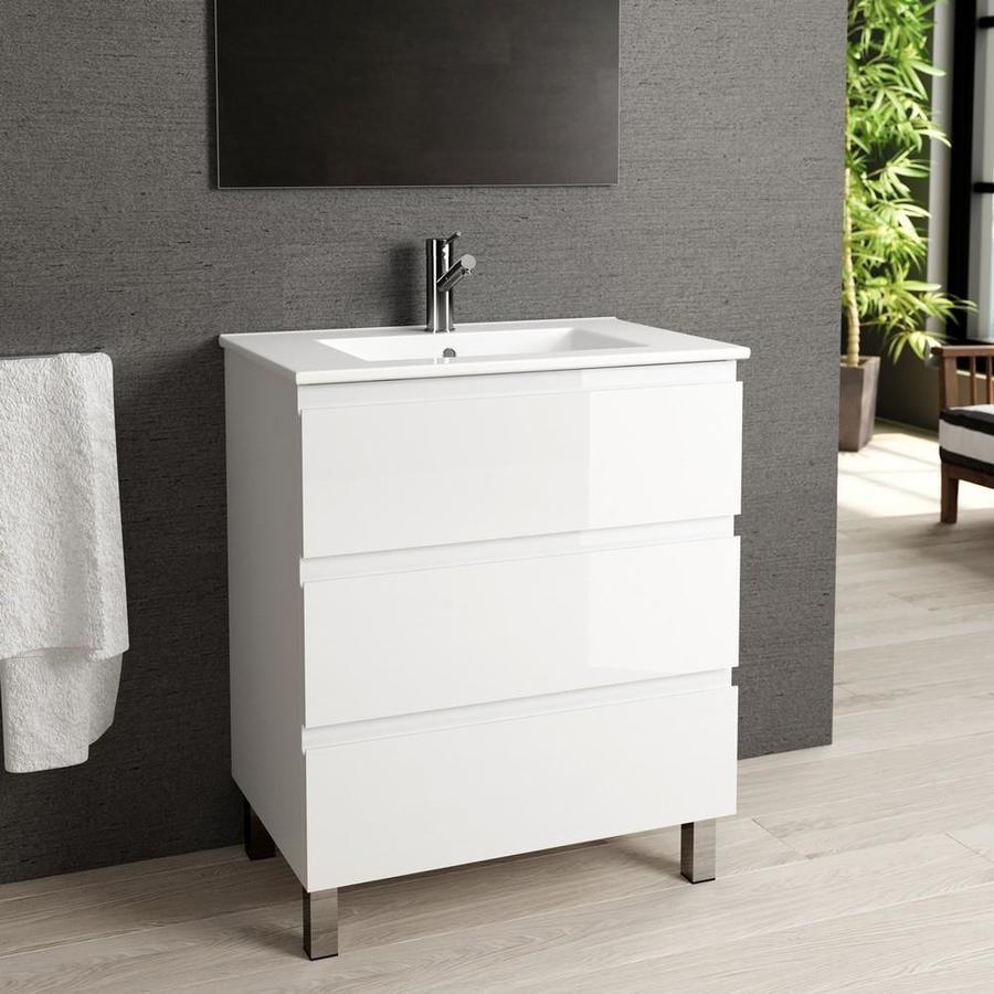Eviva Vigo 28-in White Single Sink Bathroom Vanity With White Porcelain Top  In The Bathroom Vanities With Tops Department At Lowes.com
