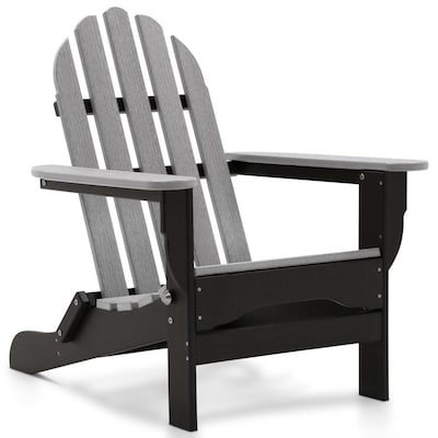 DuroGreen Icon Black with Driftwood Gray Plastic Stationary Adirondack Chair(s) with Slat Seat