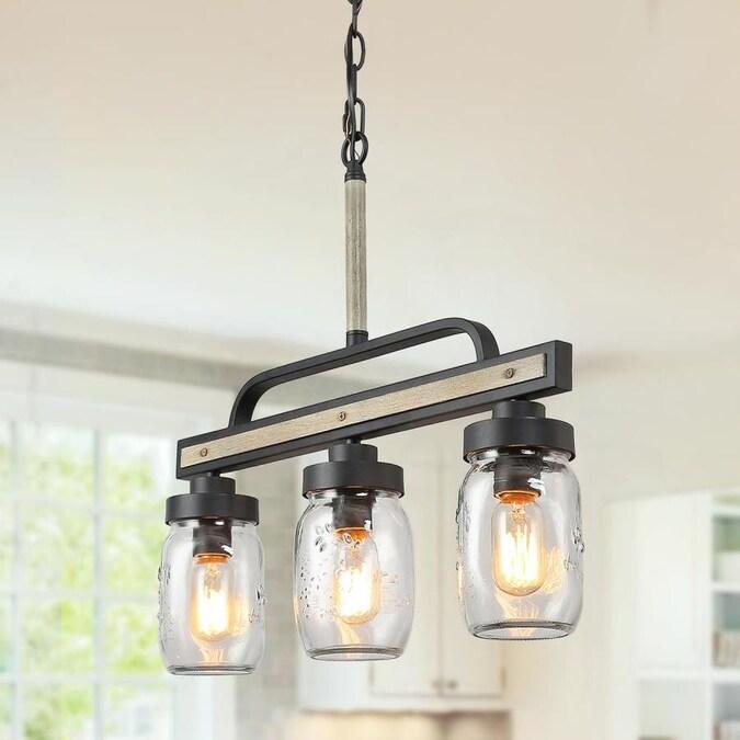 Lnc Knob Dark Gray Farmhouse Clear Glass Jar Led Kitchen Island Light In The Pendant Lighting Department At Lowes Com