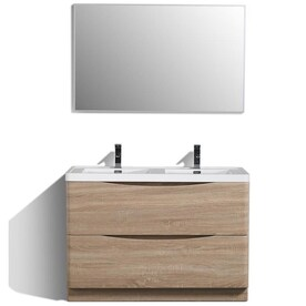 Eviva Smile 48 In White Oak Single Sink Bathroom Vanity With White Acrylic Top In The Bathroom Vanities With Tops Department At Lowes Com