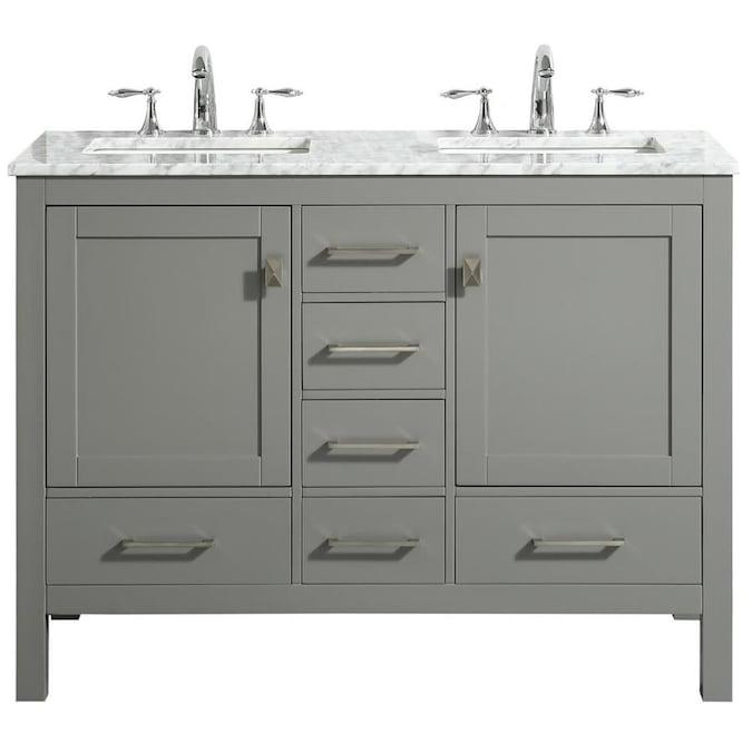 Eviva aberdeen 48-in Gray Double Sink Bathroom Vanity with ...