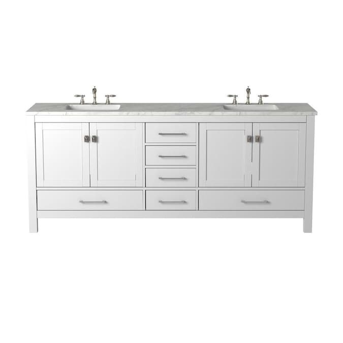 Eviva Aberdeen 84 In White Double Sink Bathroom Vanity With White