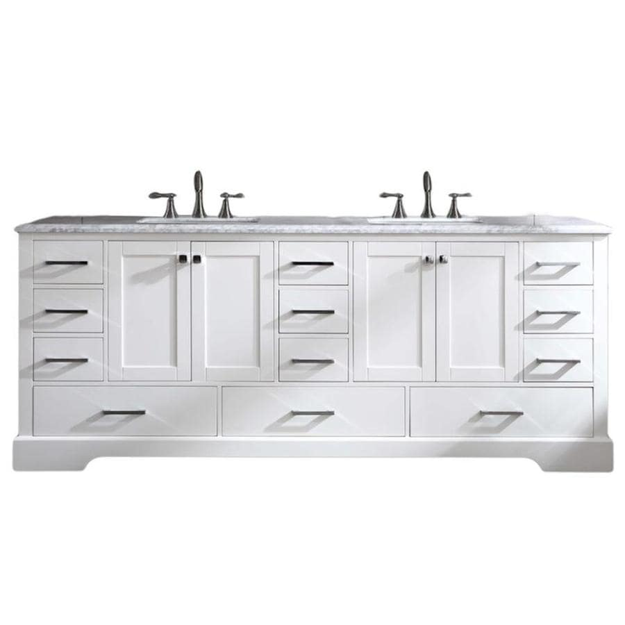 Eviva Storehouse 82 In White Undermount Double Sink Bathroom Vanity With White Marble Top In The Bathroom Vanities With Tops Department At Lowes Com