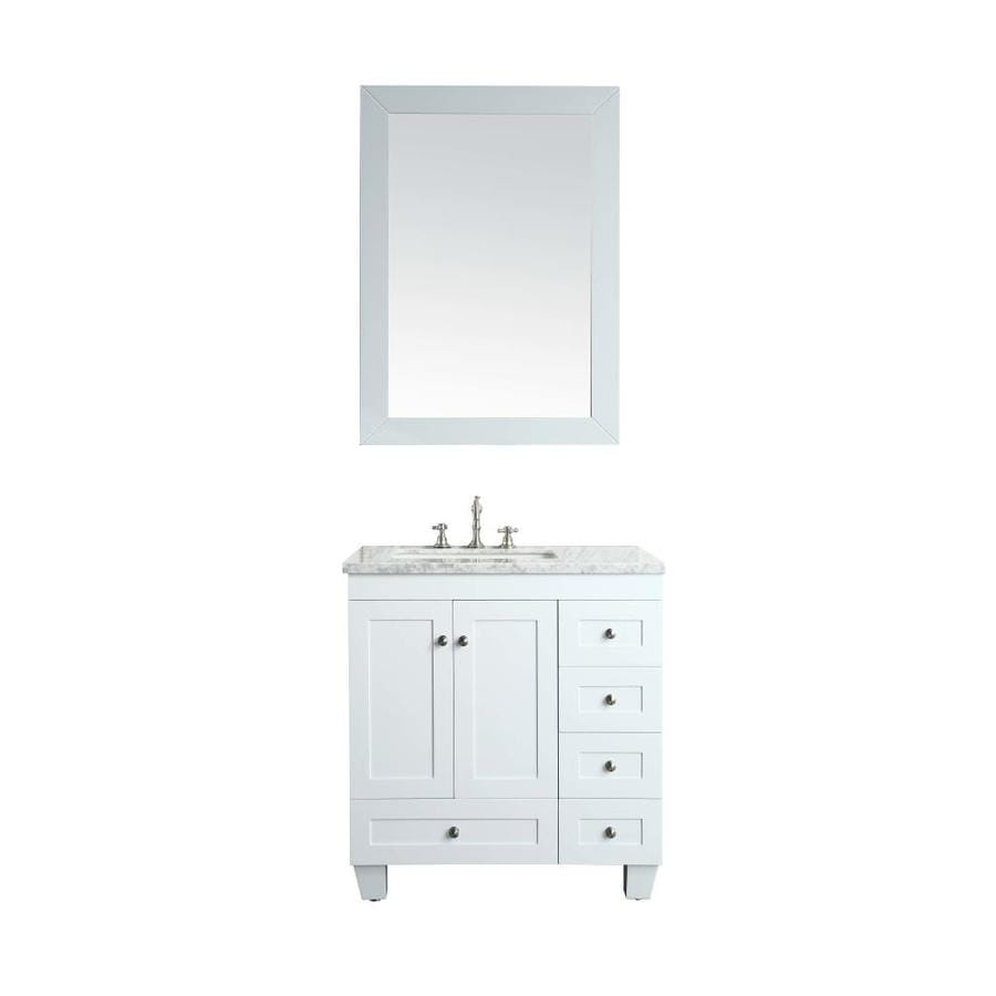 Eviva Acclaim 28 In White Undermount Single Sink Bathroom Vanity With White Marble Top In The Bathroom Vanities With Tops Department At Lowes Com