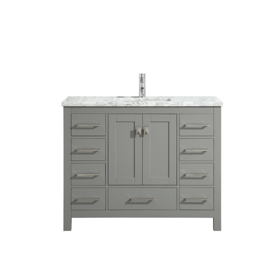 Eviva Eviva London 48 In X 18 In Transitional Gray Bathroom Vanity With White Carrara Marble And Double Porcelain Sinks In The Bathroom Vanity Tops Department At Lowes Com