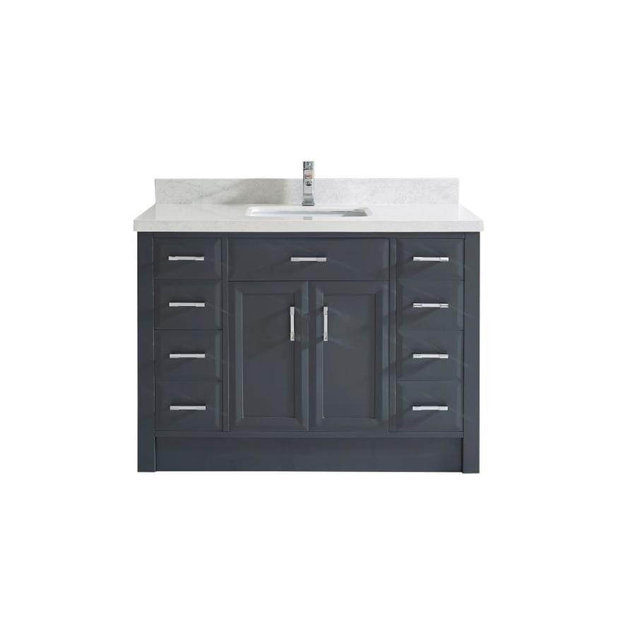 Spa Bathe Calumet 48 In Pepper Gray Undermount Single Sink Bathroom Vanity With White With Grey Veins Engineered Stone Top In The Bathroom Vanities With Tops Department At Lowes Com