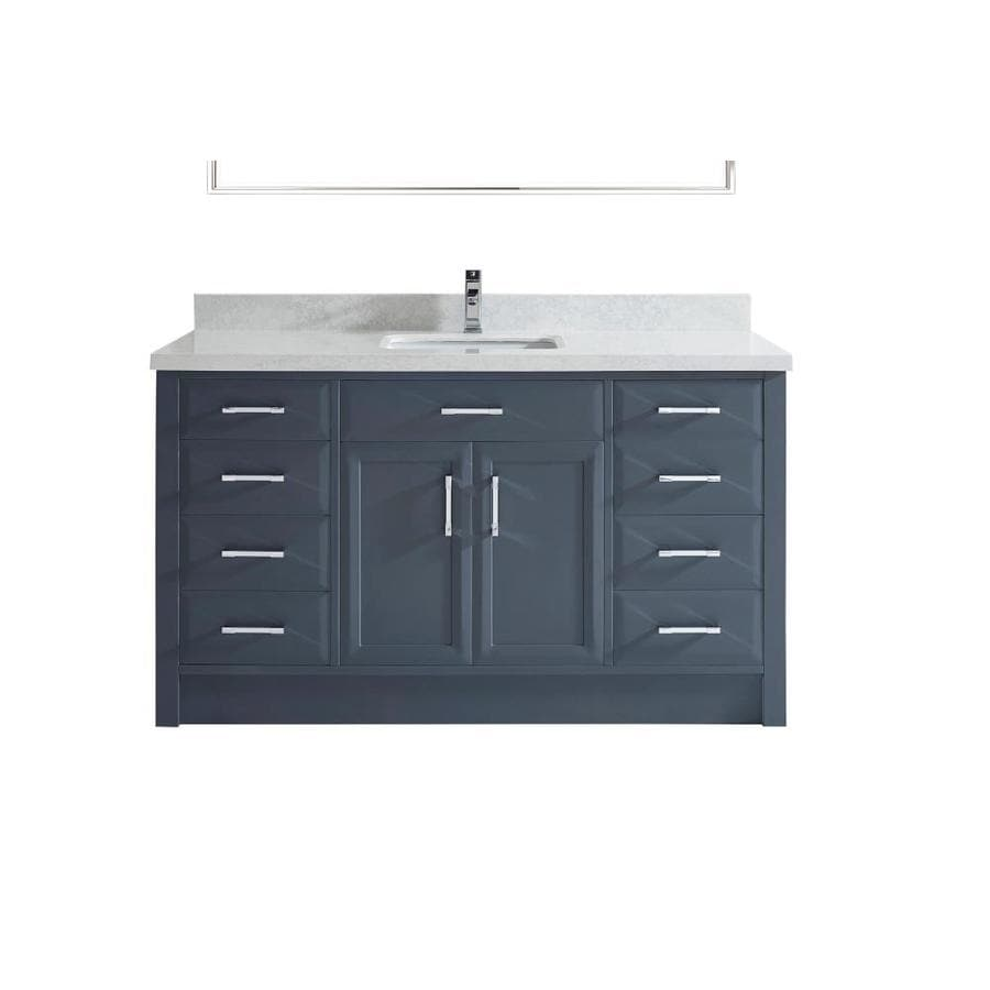 Spa Bathe Calumet 60 In Pepper Gray Undermount Single Sink Bathroom Vanity With White With Grey Veins Engineered Stone Top In The Bathroom Vanities With Tops Department At Lowes Com