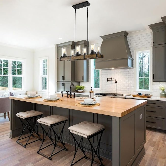 Lnc Holmes Matte Black Farmhouse Seeded Glass Square Led Kitchen Island Light In The Pendant Lighting Department At Lowes Com