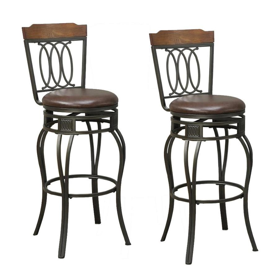 Benzara Set Of 2 Brown Tall Upholstered Swivel Bar Stool In The Bar Stools Department At Lowes Com
