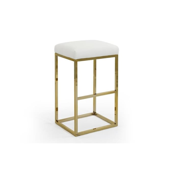 Chic Home Design Skyler White Bar Height Upholstered Bar Stool In The Bar Stools Department At Lowes Com