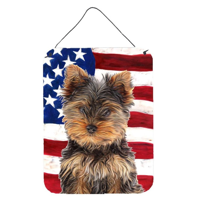 Carolines Treasures SS4055DS1216 USA American Flag with Golden Retriever Wall or Door Hanging Prints 12x16 Multicolor