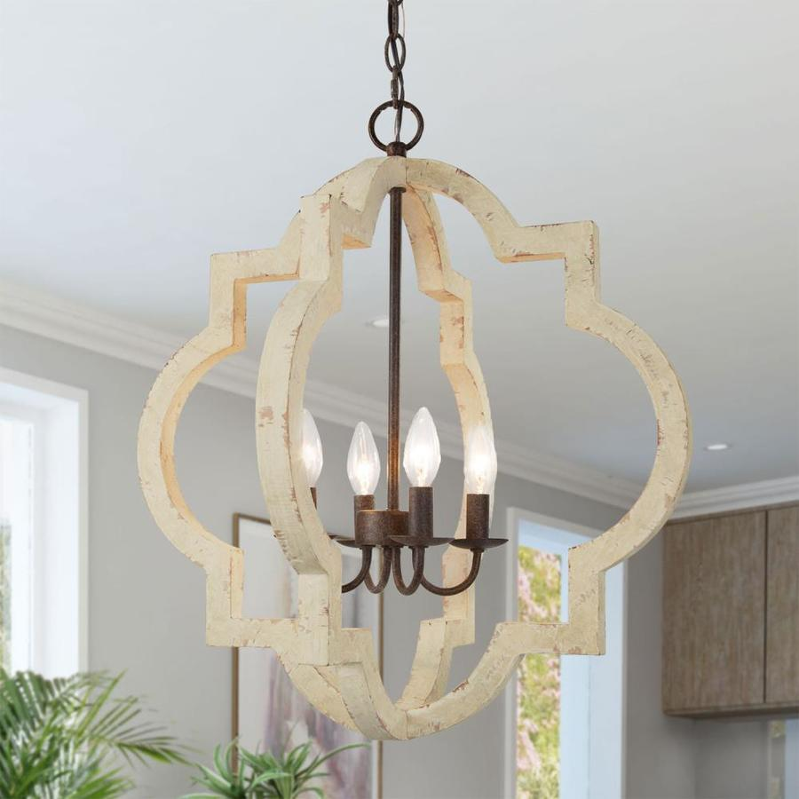 Lnc Timeless 4 Light White Farmhouse Cage Chandelier In The Chandeliers Department At Lowes Com