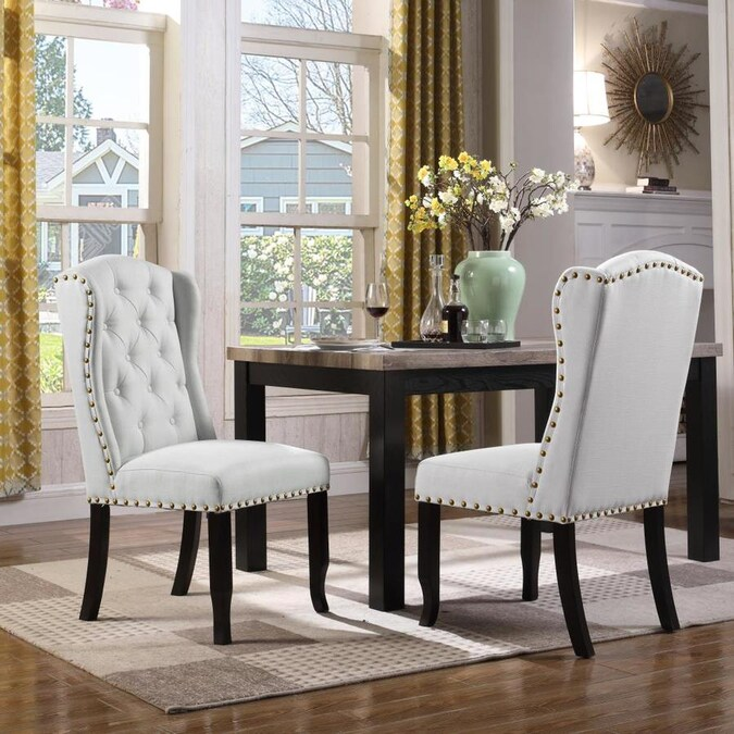 Chic Home Design Set Of 2 Shira Linen Upholstered Dining Side Chair Wood Frame In The Dining Chairs Department At Lowes Com