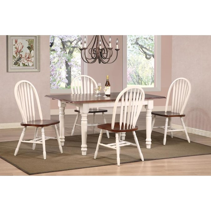 Sunset Trading Andrews Antique White With Chestnut Table Top And Seats Dining Room Set With