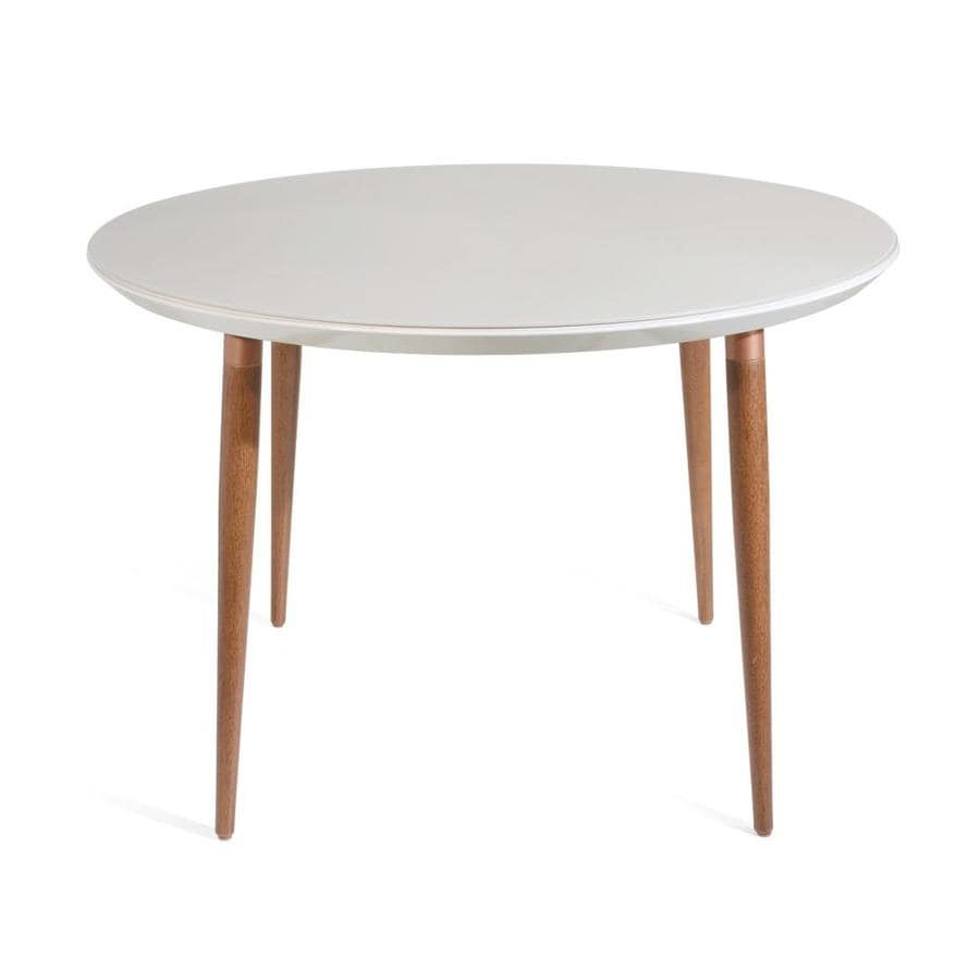 Manhattan Comfort Utopia Off White Round Dining Table Composite With Gloss Composite Base In The Dining Tables Department At Lowes Com