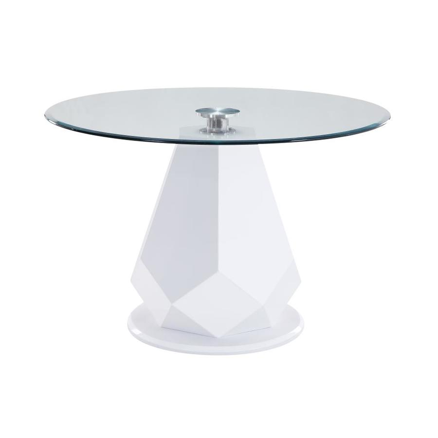 Acme Furniture Chara White High Gloss And Glass Top Round Dining Table Glass Top With Wood Wood Base In The Dining Tables Department At Lowes Com