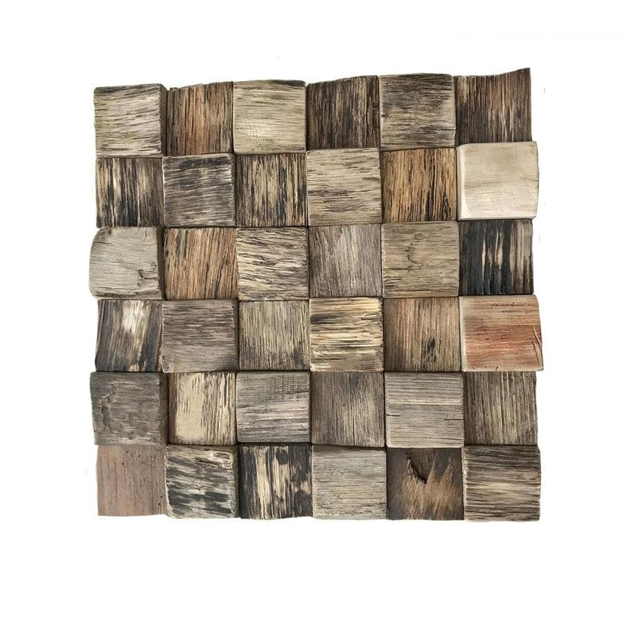 Ekena Millwork Reclaimed Boat Mosaic 12 In X 12 In Natural Wood Wall Tile In The Tile Department At Lowes Com