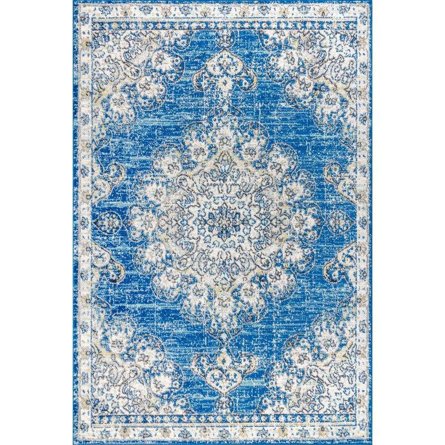 Jonathan Y Bohemian Flair 8 X 10 Blue Cream Indoor Medallion Area Rug In The Rugs Department At Lowes Com