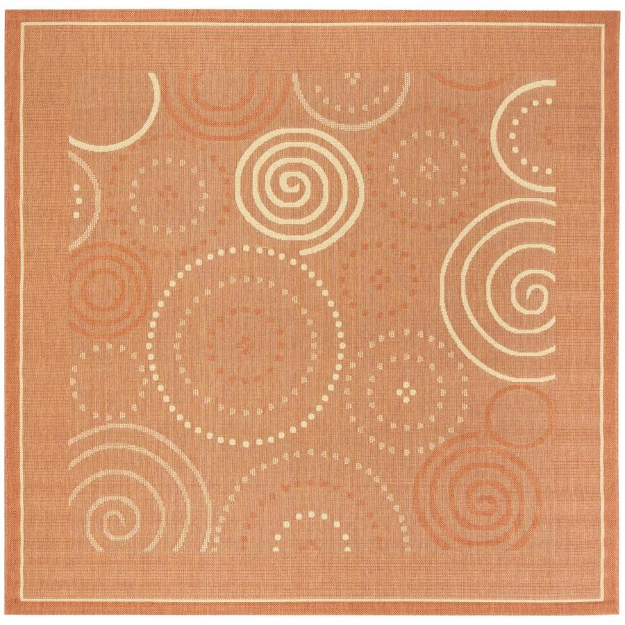 Safavieh Courtyard Circles 7 X 7 Terracotta Natural Square Indoor Outdoor Abstract Area Rug In The Rugs Department At Lowes Com