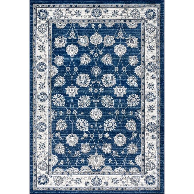 Navy Light Grey Square Indoor Area Rug
