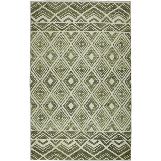 Mohawk Home Prismatic 8 X 10 Green Trellis Mid Century Modern Area Rug In The Rugs Department At Lowes Com