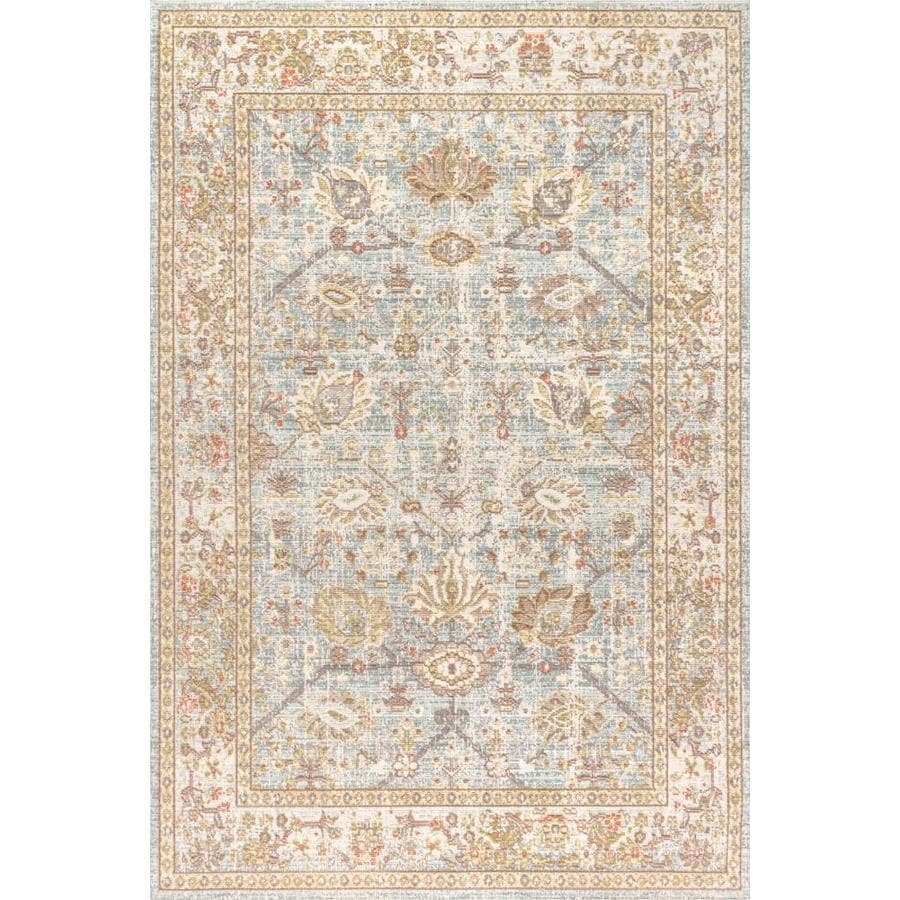 Jonathan Y Modern Persian 8 X 10 Light Blue Ivory Indoor Border Area Rug In The Rugs Department At Lowes Com